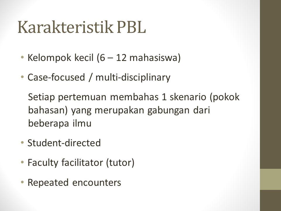 Karakteristik PBL Kelompok kecil (6 – 12 mahasiswa)