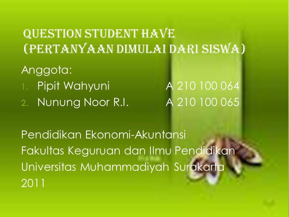 QUESTION STUDENT HAVE (PERTANYAAN DIMULAI DARI SISWA)