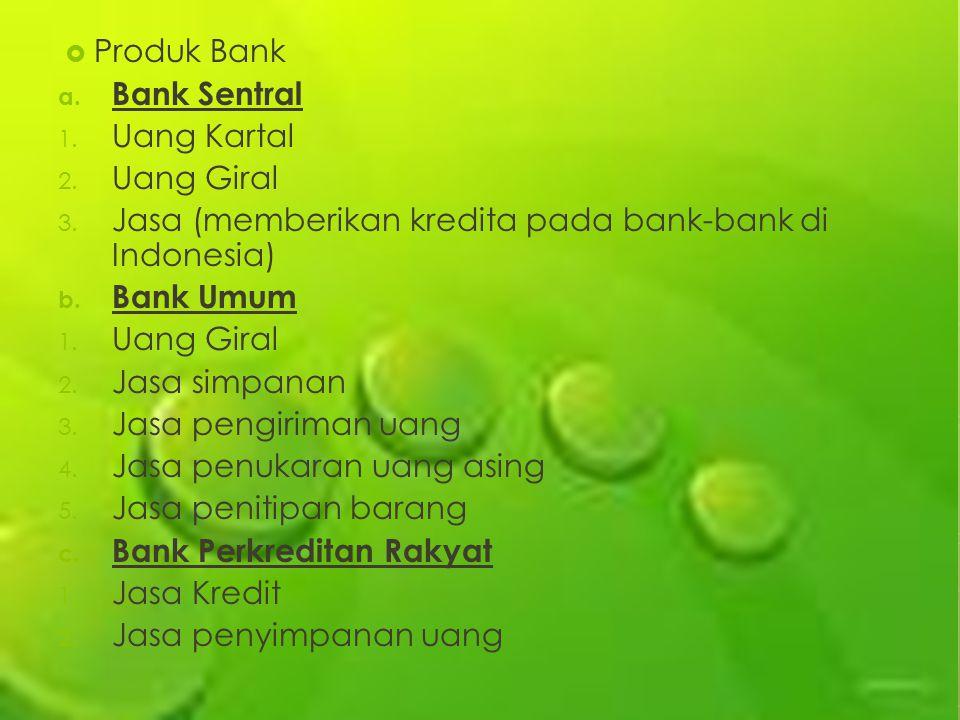 Produk Bank Bank Sentral. Uang Kartal. Uang Giral. Jasa (memberikan kredita pada bank-bank di Indonesia)
