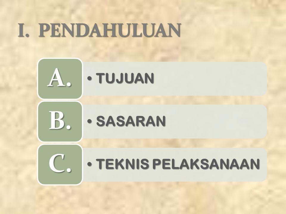 I. PENDAHULUAN A. TUJUAN B. SASARAN C. TEKNIS PELAKSANAAN