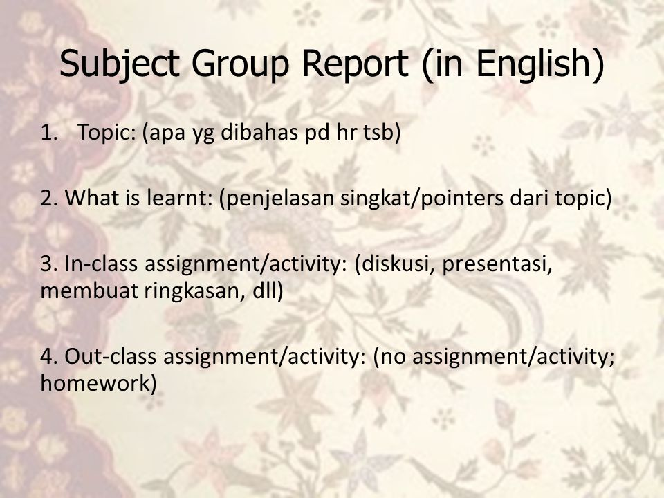 Subject Group Report (in English)