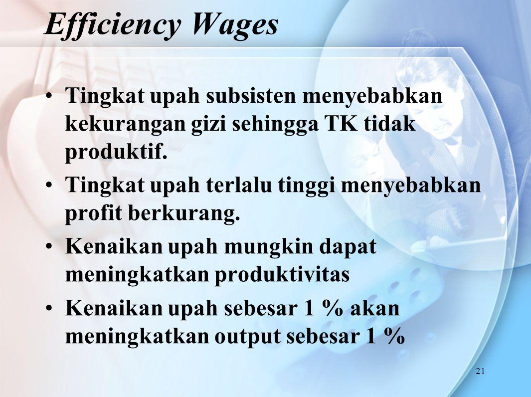 Efficiency Wages Tingkat upah subsisten menyebabkan kekurangan gizi sehingga TK tidak produktif.