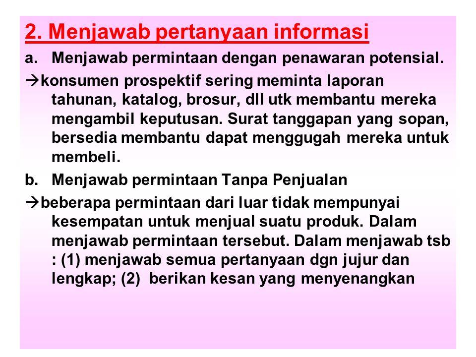 2. Menjawab pertanyaan informasi