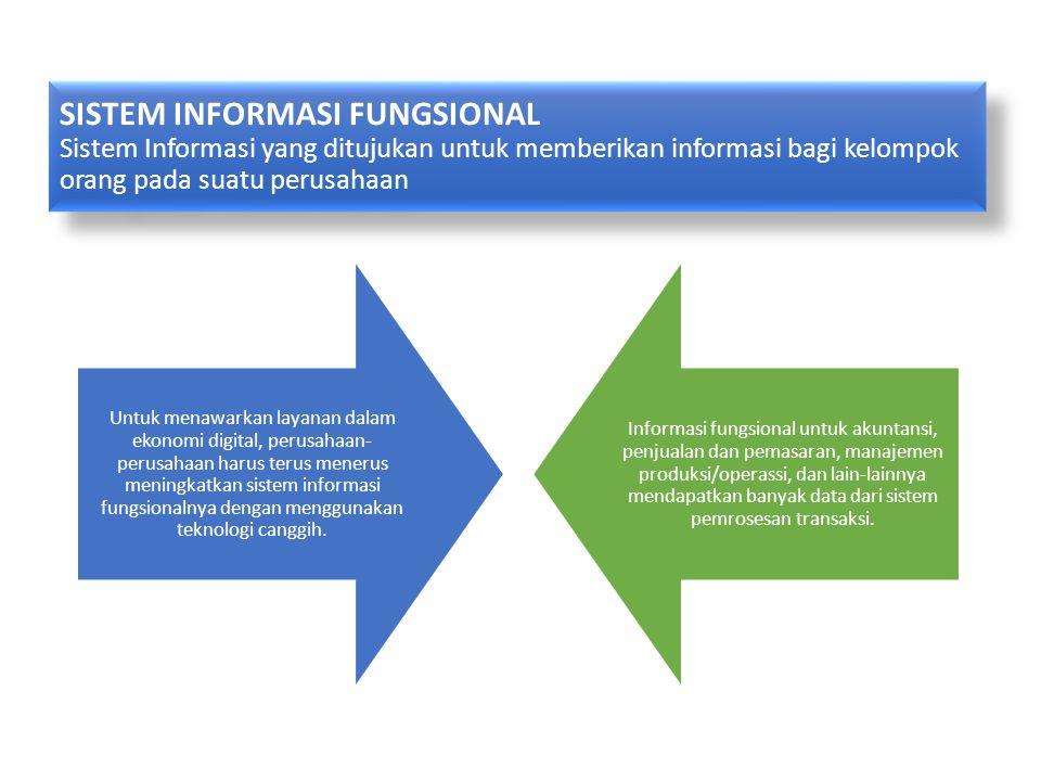 SISTEM INFORMASI FUNGSIONAL Sistem Informasi yang ditujukan untuk memberikan informasi bagi kelompok orang pada suatu perusahaan
