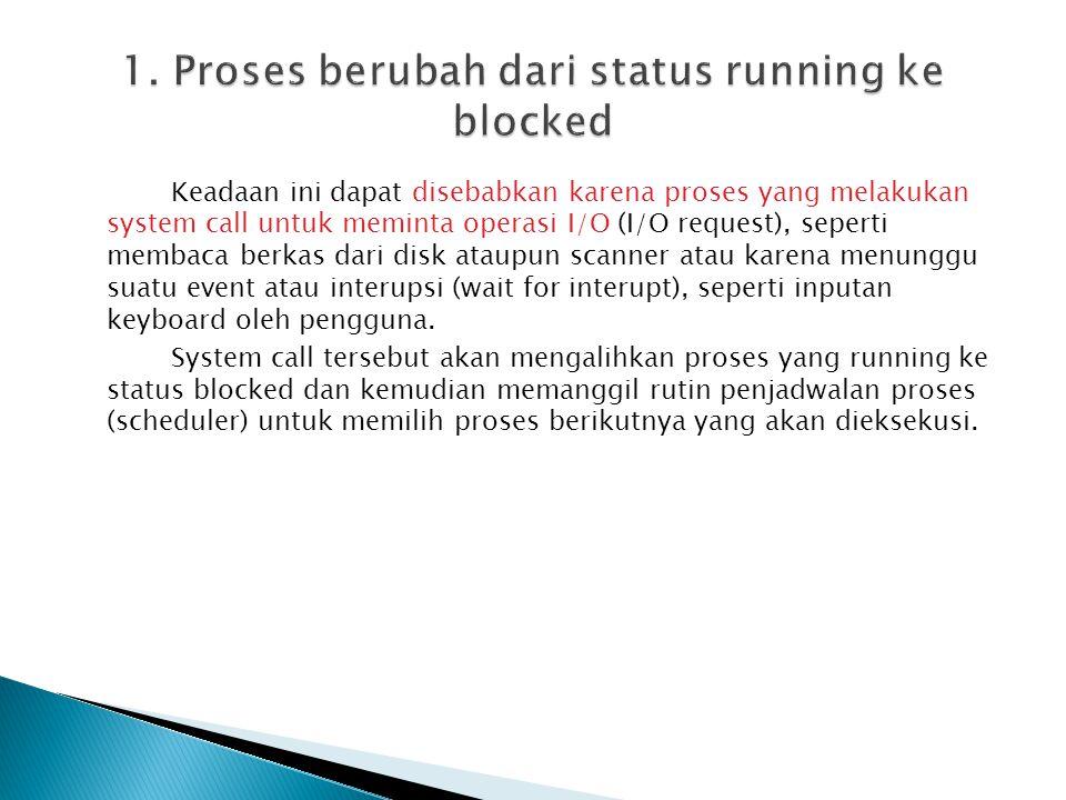 1. Proses berubah dari status running ke blocked