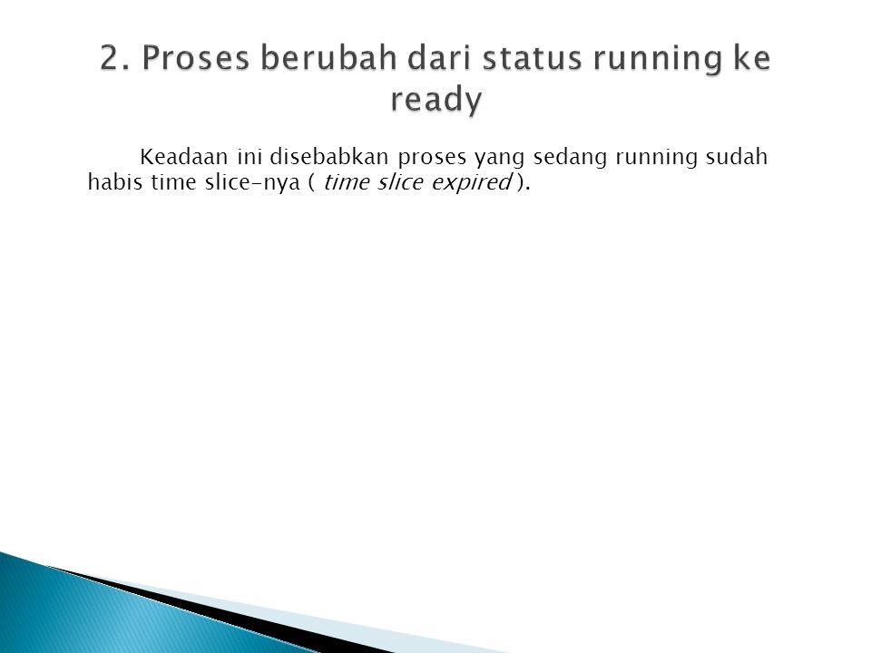 2. Proses berubah dari status running ke ready