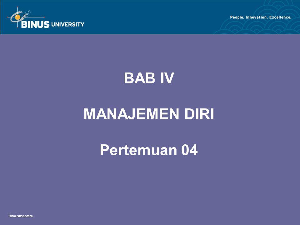 BAB IV MANAJEMEN DIRI Pertemuan 04