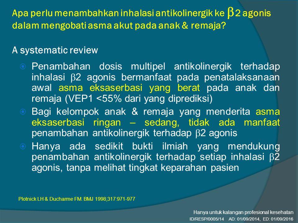 Apa perlu menambahkan inhalasi antikolinergik ke 2 agonis dalam mengobati asma akut pada anak & remaja A systematic review