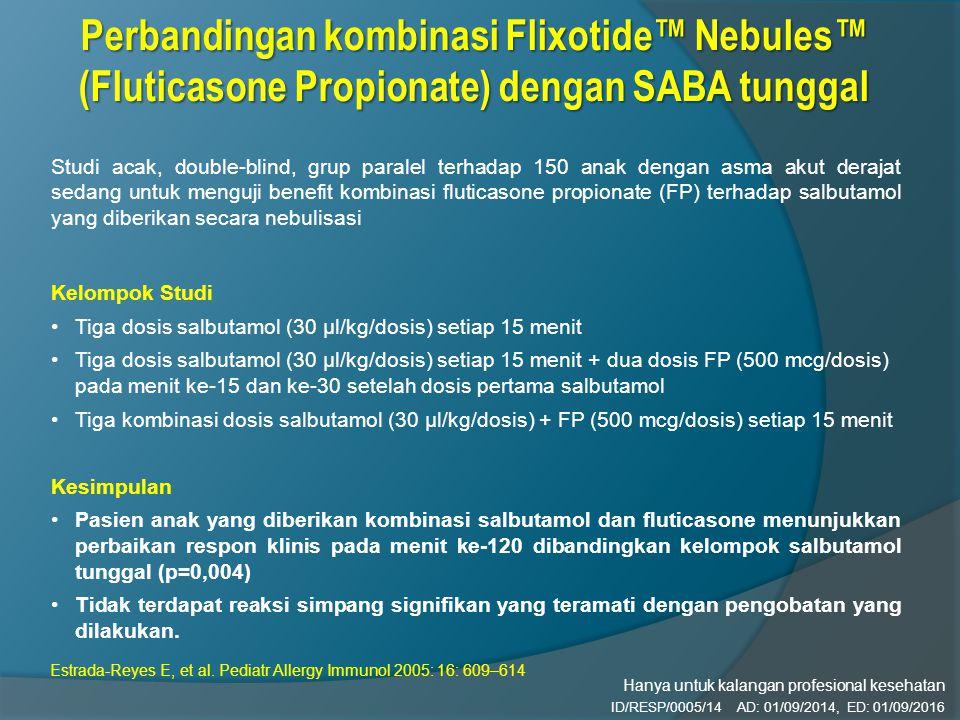 Perbandingan kombinasi Flixotide™ Nebules™ (Fluticasone Propionate) dengan SABA tunggal