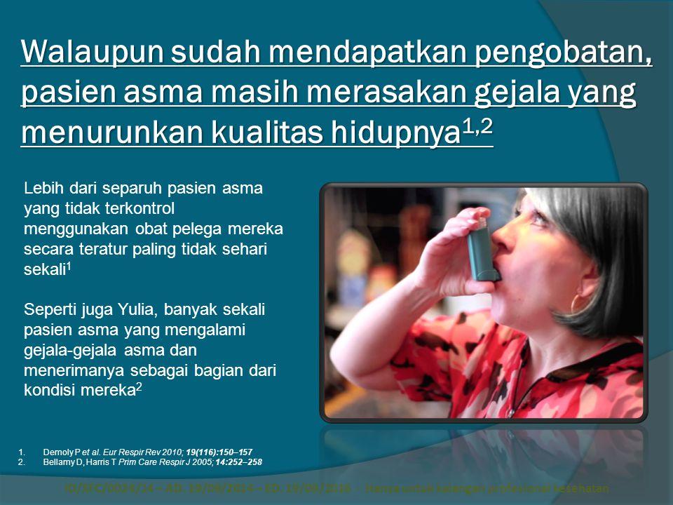 Walaupun sudah mendapatkan pengobatan, pasien asma masih merasakan gejala yang menurunkan kualitas hidupnya1,2
