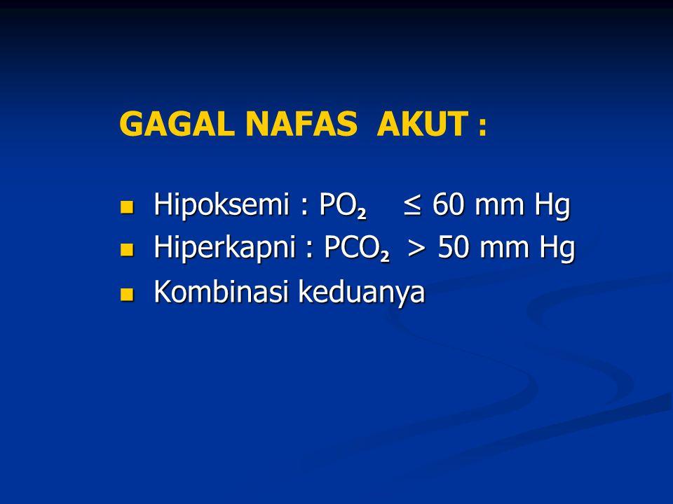 GAGAL NAFAS AKUT : Hipoksemi : PO2 ≤ 60 mm Hg