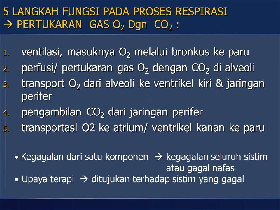 5 LANGKAH FUNGSI PADA PROSES RESPIRASI  PERTUKARAN GAS O2 Dgn CO2 :