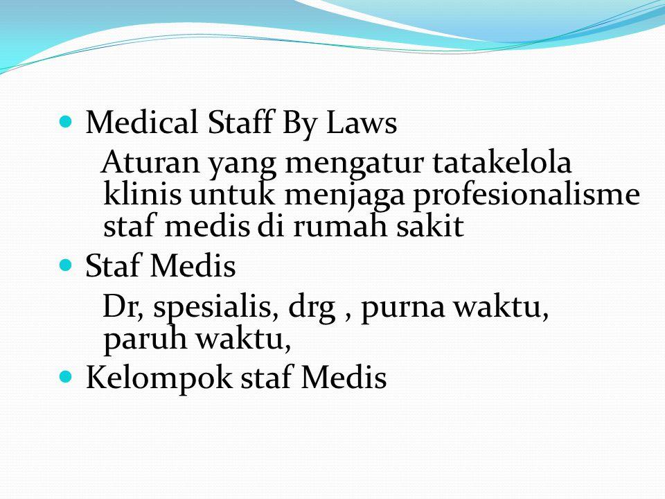 Medical Staff By Laws Aturan yang mengatur tatakelola klinis untuk menjaga profesionalisme staf medis di rumah sakit.