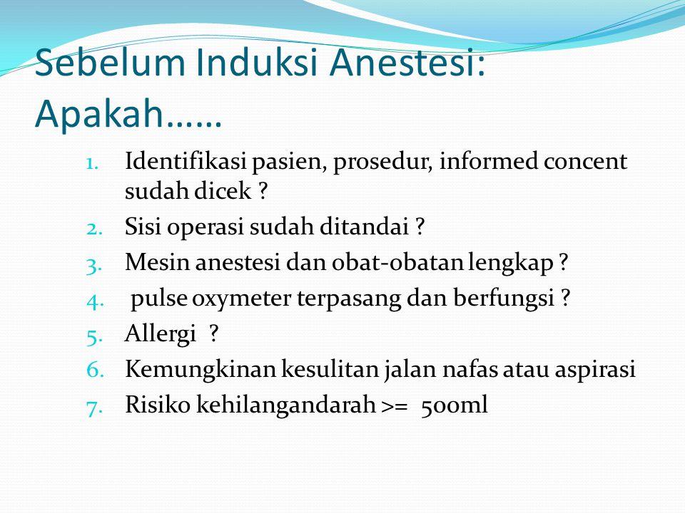 Sebelum Induksi Anestesi: Apakah……