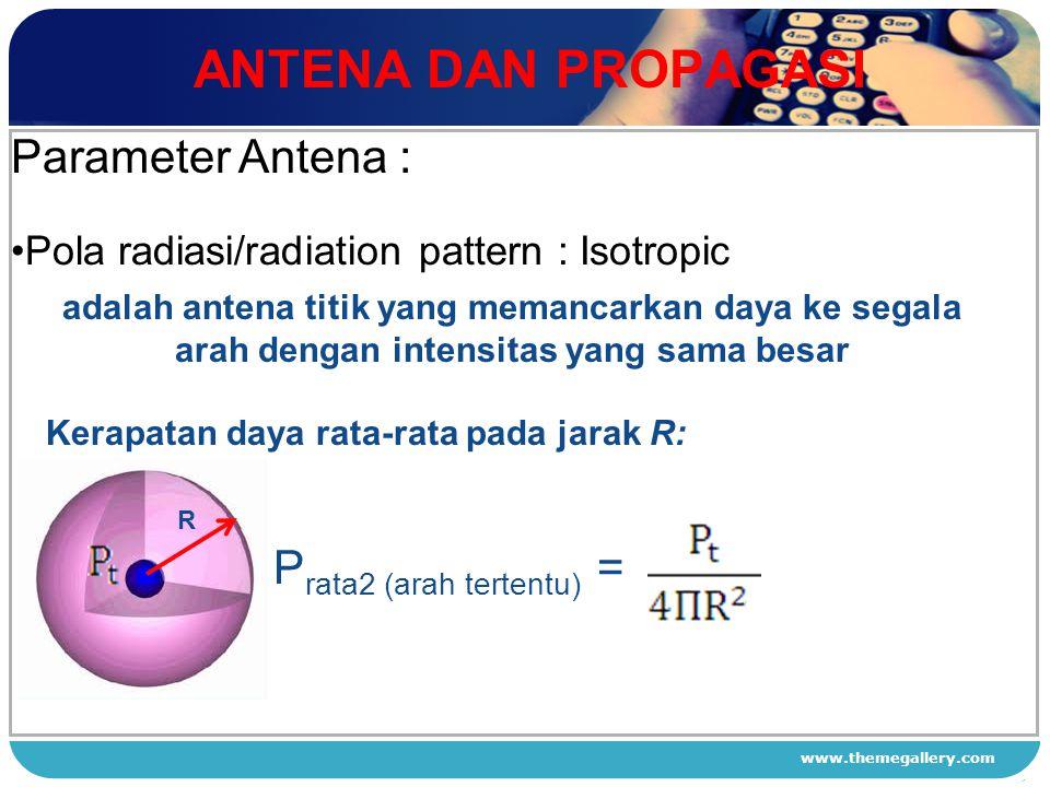 ANTENA DAN PROPAGASI Parameter Antena : Prata2 (arah tertentu) =