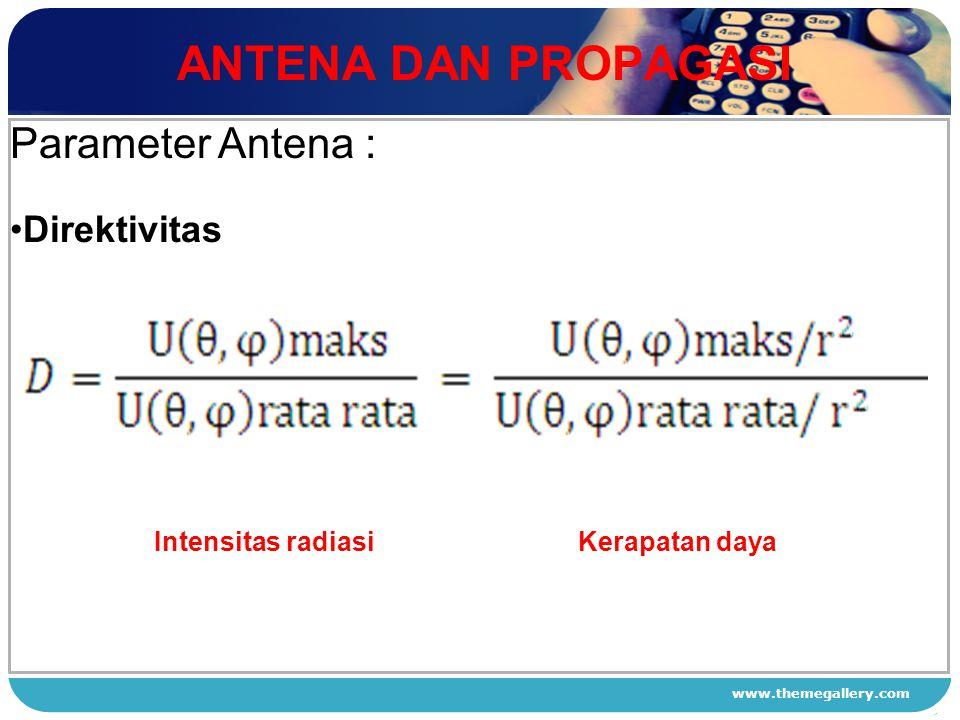 ANTENA DAN PROPAGASI Parameter Antena : Direktivitas 1 2 3 4