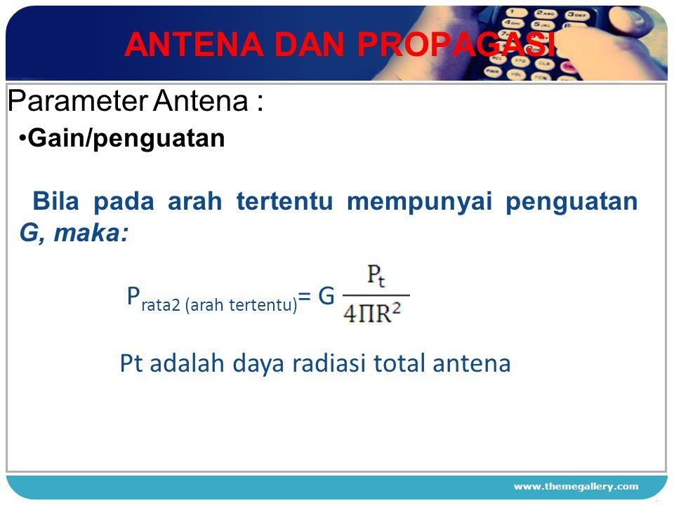 ANTENA DAN PROPAGASI Parameter Antena :