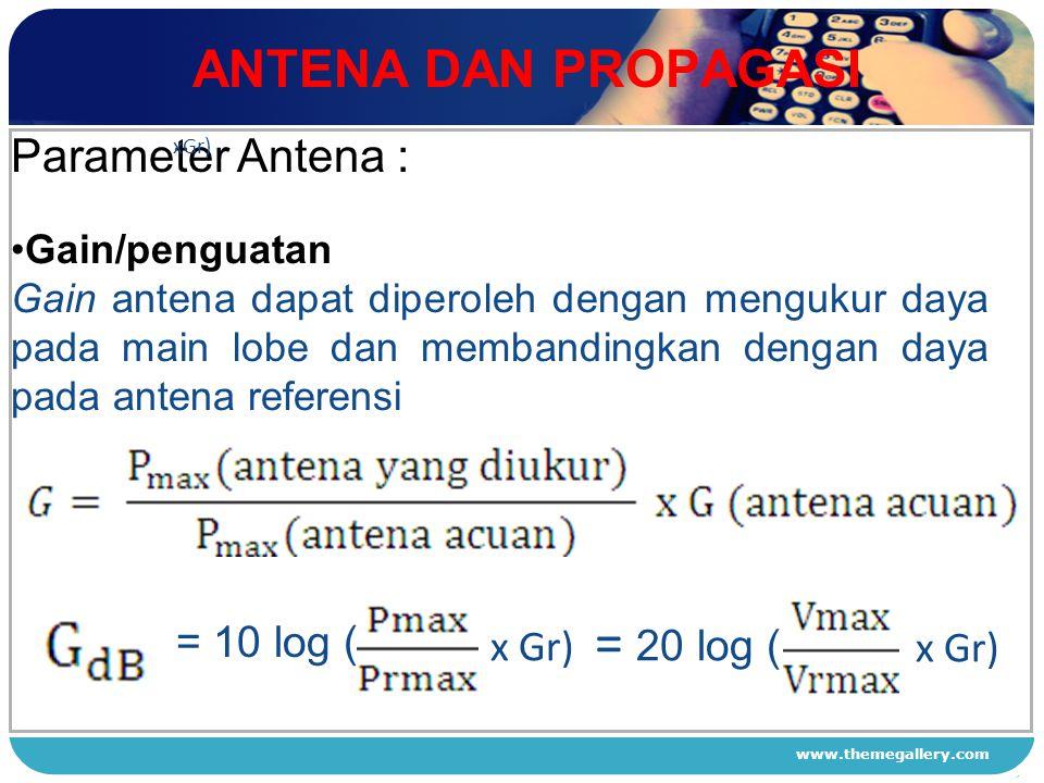 ANTENA DAN PROPAGASI Parameter Antena : x Gr) = 20 log ( = 10 log (