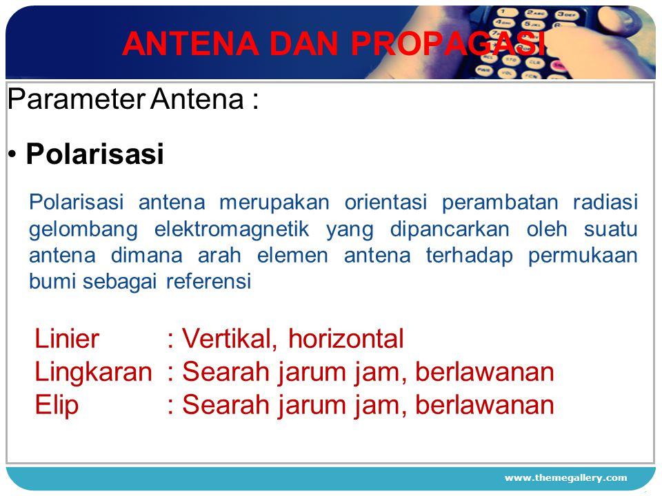ANTENA DAN PROPAGASI Parameter Antena : Polarisasi