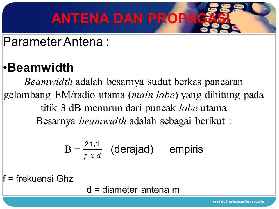 ANTENA DAN PROPAGASI Parameter Antena : Beamwidth