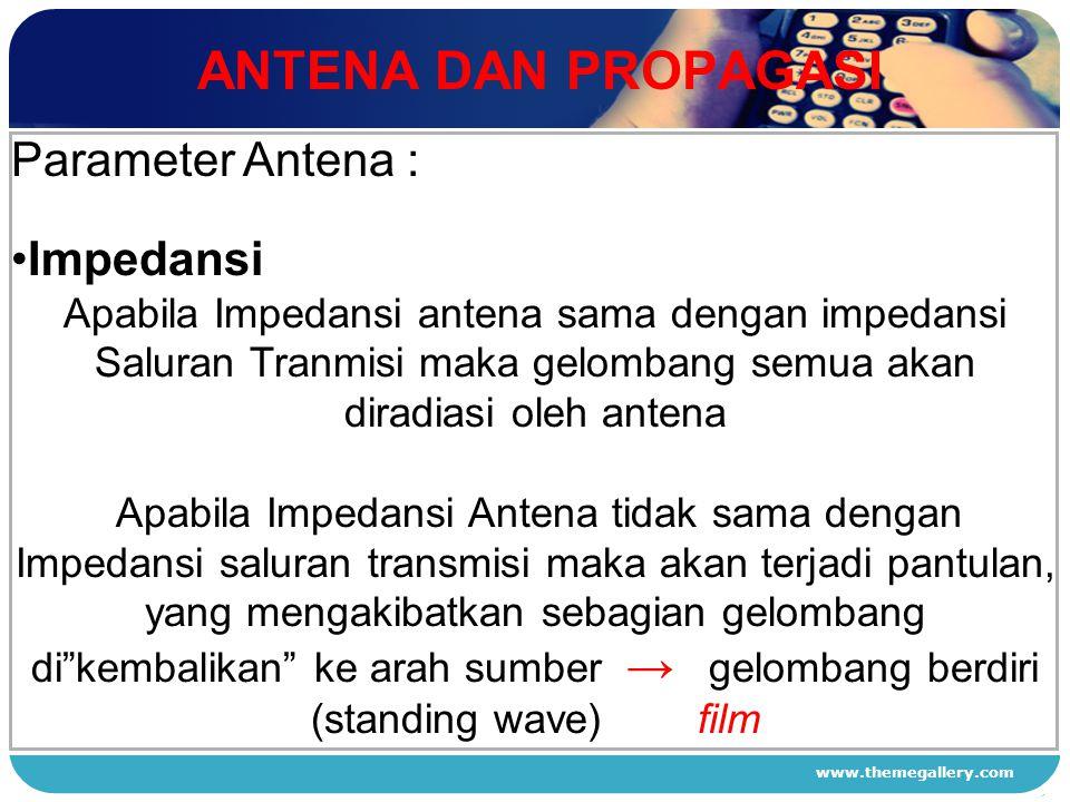 ANTENA DAN PROPAGASI Parameter Antena : Impedansi