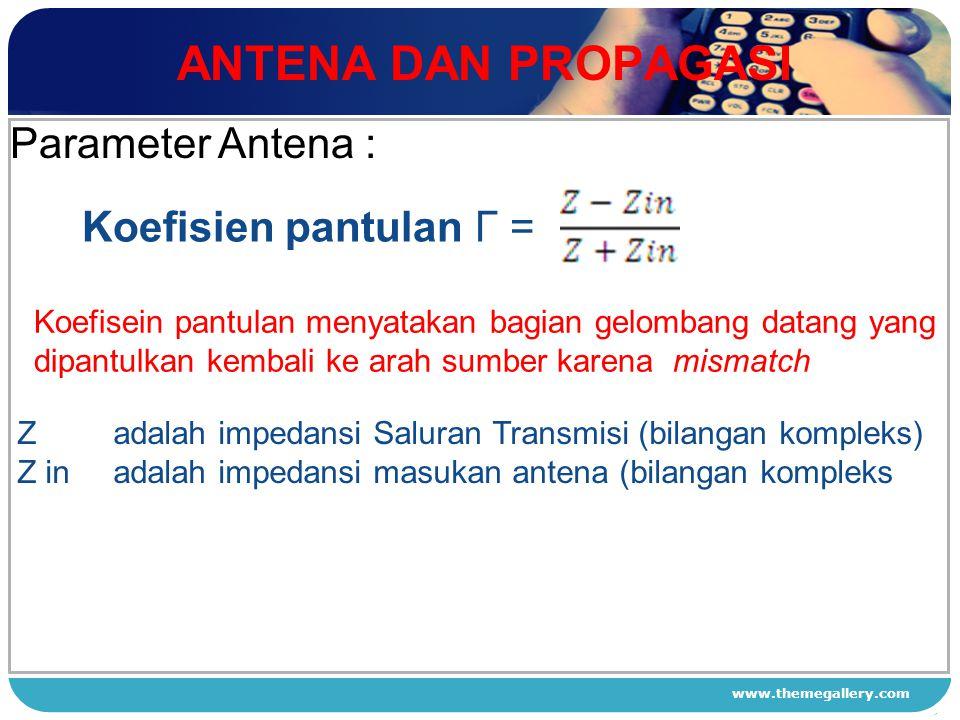 ANTENA DAN PROPAGASI Parameter Antena : Koefisien pantulan Γ = 1