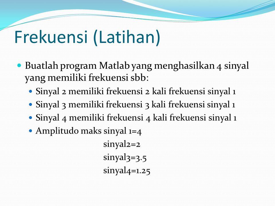 Frekuensi (Latihan) Buatlah program Matlab yang menghasilkan 4 sinyal yang memiliki frekuensi sbb: