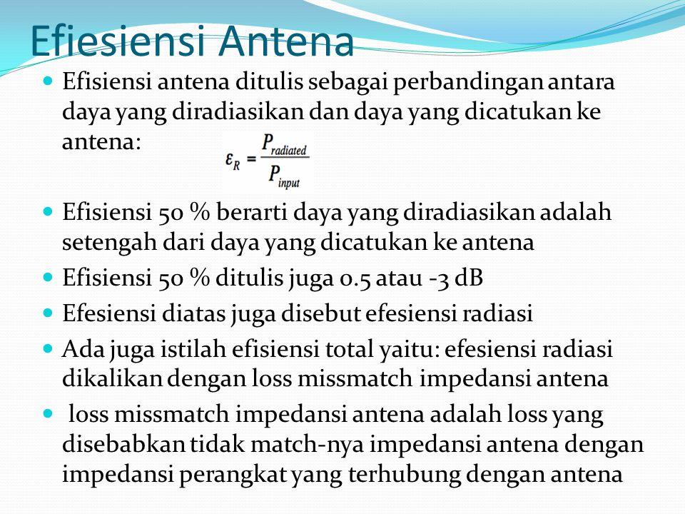 Efiesiensi Antena Efisiensi antena ditulis sebagai perbandingan antara daya yang diradiasikan dan daya yang dicatukan ke antena: