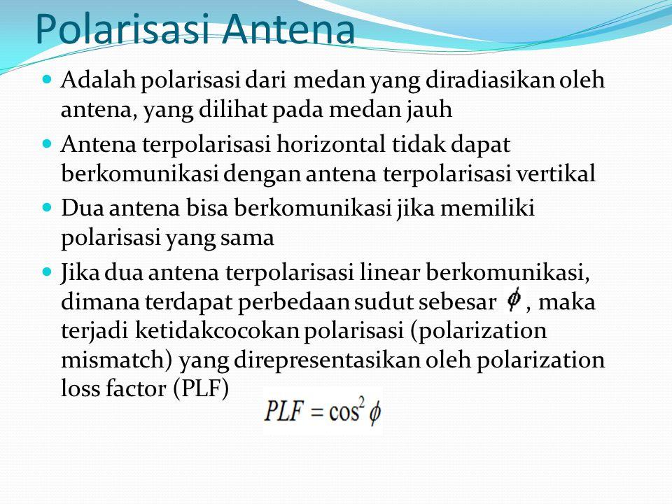 Polarisasi Antena Adalah polarisasi dari medan yang diradiasikan oleh antena, yang dilihat pada medan jauh.