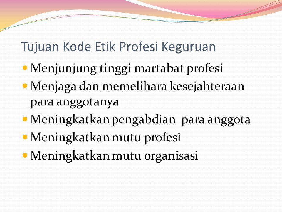 Tujuan Kode Etik Profesi Keguruan