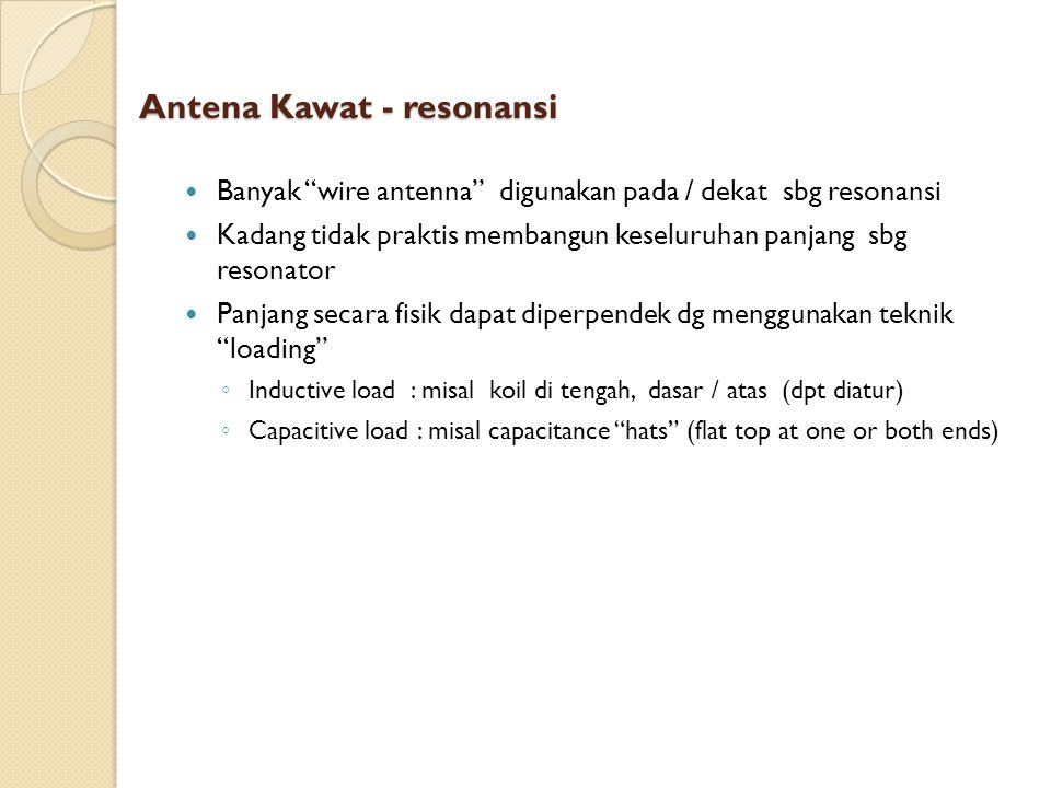Antena Kawat - resonansi
