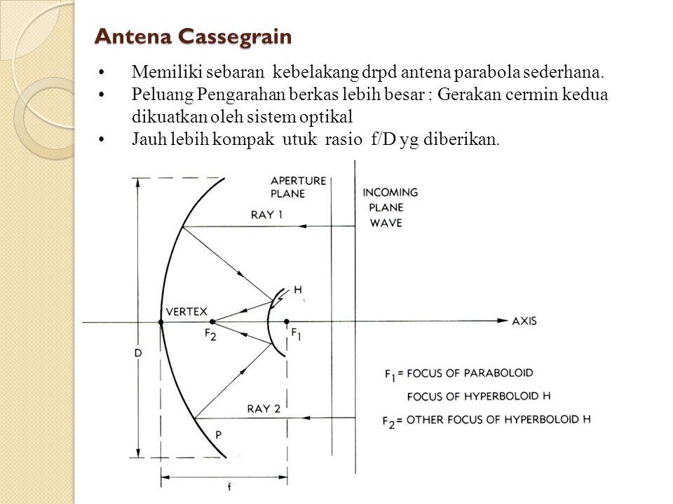 Antena Cassegrain Memiliki sebaran kebelakang drpd antena parabola sederhana. Peluang Pengarahan berkas lebih besar : Gerakan cermin kedua.