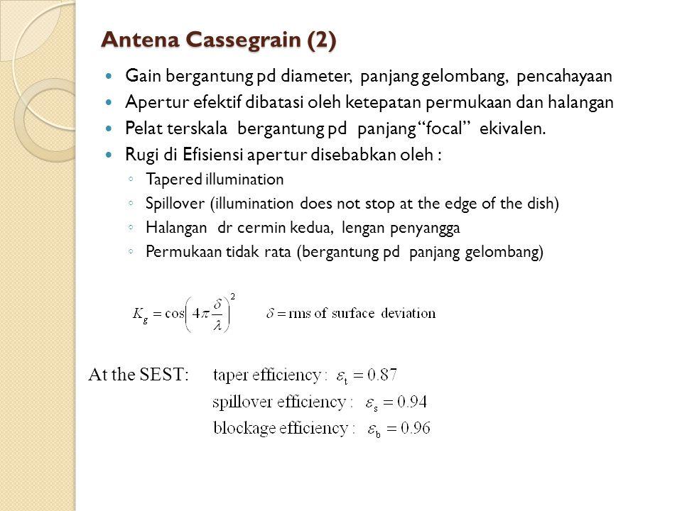 Antena Cassegrain (2) Gain bergantung pd diameter, panjang gelombang, pencahayaan. Apertur efektif dibatasi oleh ketepatan permukaan dan halangan.