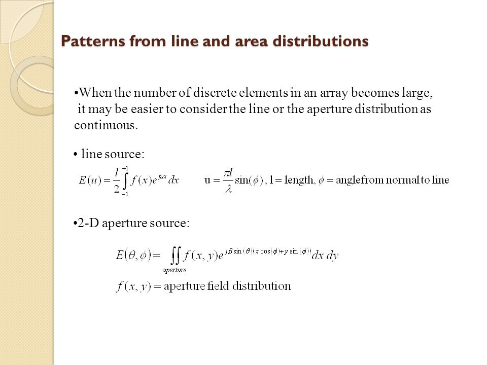 Patterns from line and area distributions