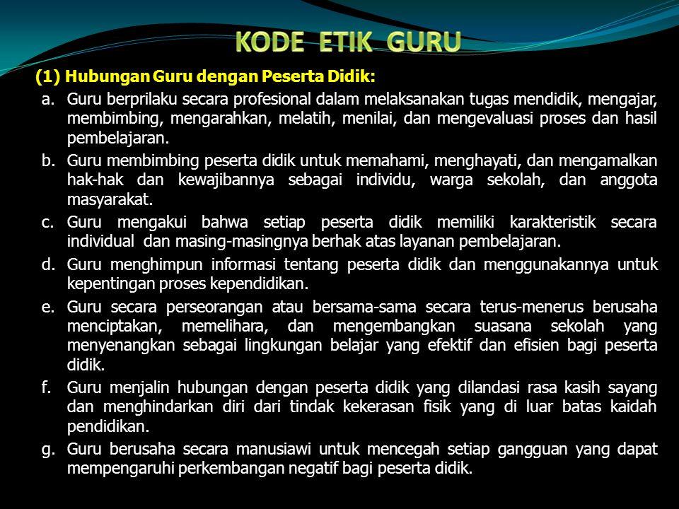 KODE ETIK GURU (1) Hubungan Guru dengan Peserta Didik: