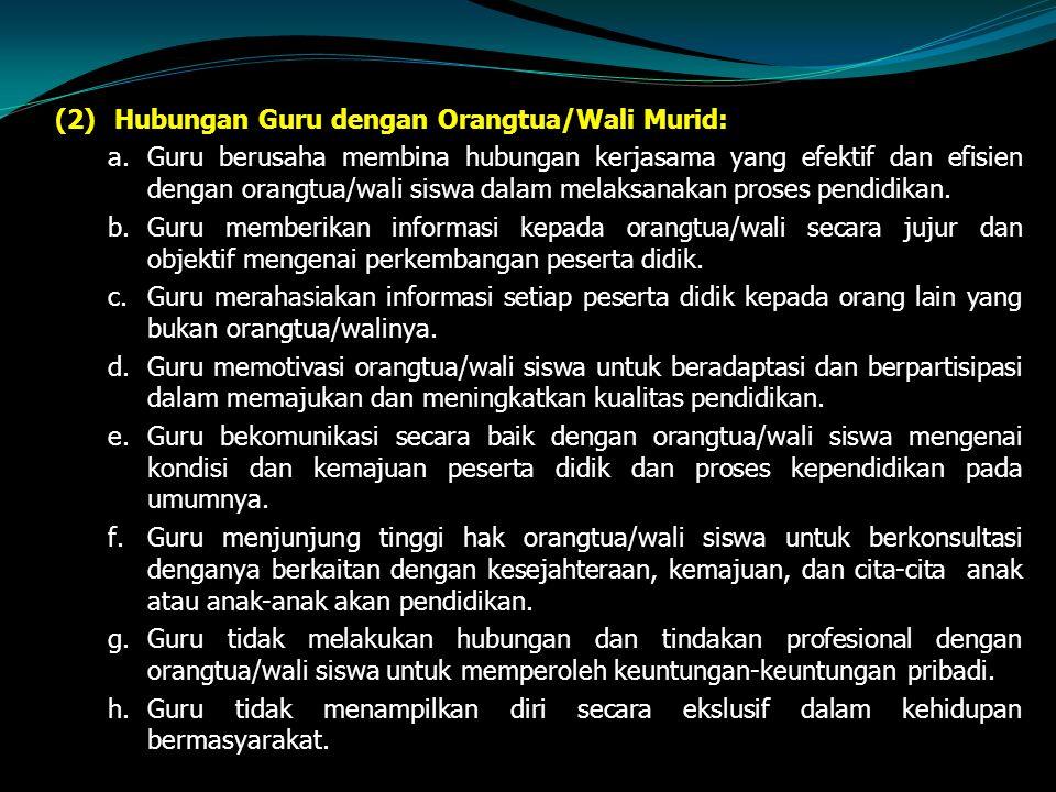 (2) Hubungan Guru dengan Orangtua/Wali Murid: