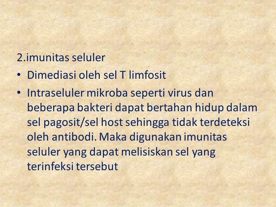 2.imunitas seluler Dimediasi oleh sel T limfosit.