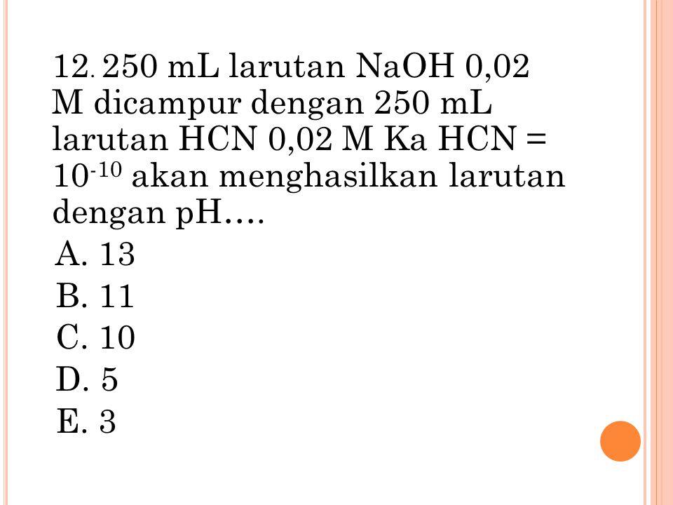 12. 250 mL larutan NaOH 0,02 M dicampur dengan 250 mL larutan HCN 0,02 M Ka HCN = 10-10 akan menghasilkan larutan dengan pH….