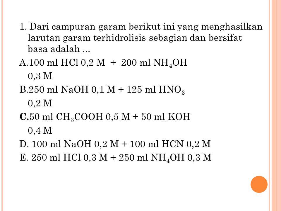1. Dari campuran garam berikut ini yang menghasilkan larutan garam terhidrolisis sebagian dan bersifat basa adalah ...