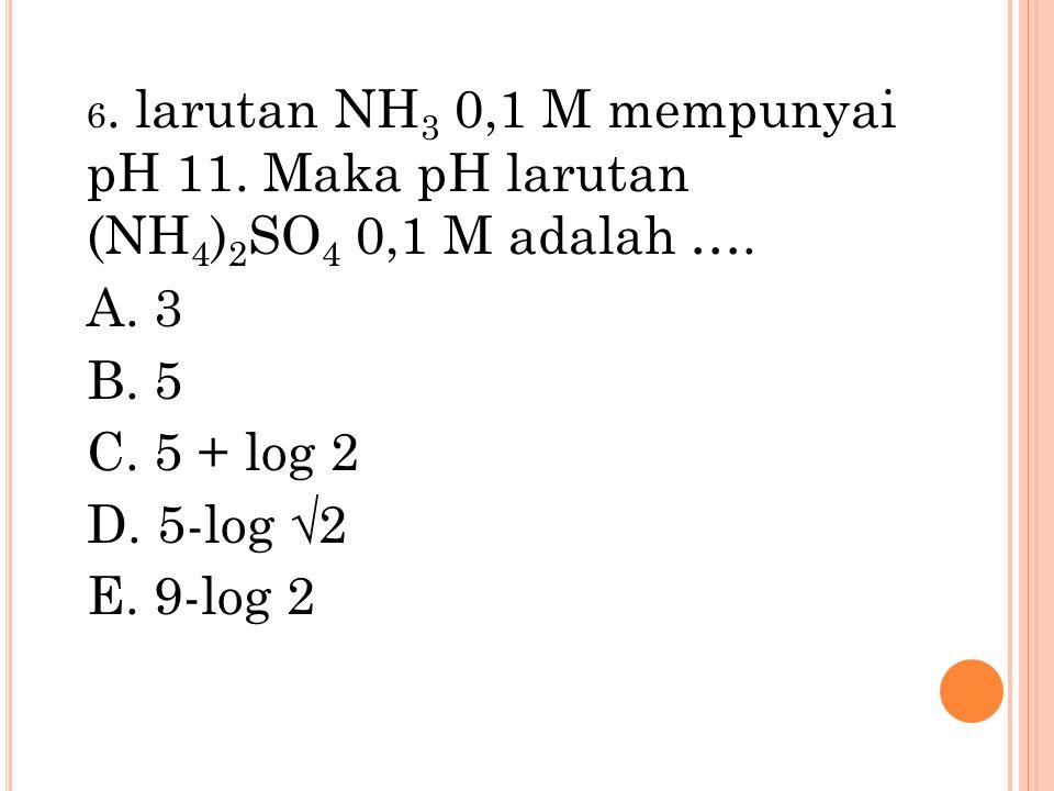 6. larutan NH3 0,1 M mempunyai pH 11