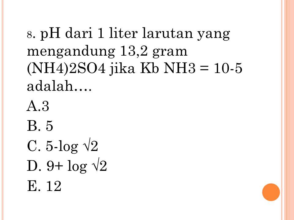 8. pH dari 1 liter larutan yang mengandung 13,2 gram (NH4)2SO4 jika Kb NH3 = 10-5 adalah….