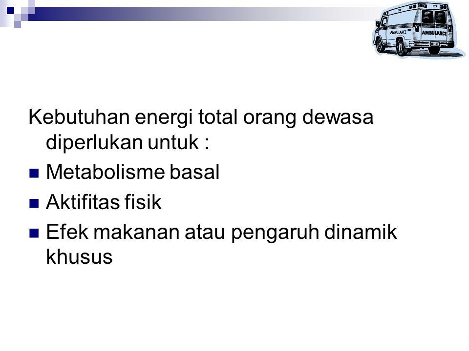 Kebutuhan energi total orang dewasa diperlukan untuk :
