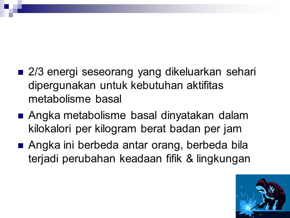 2/3 energi seseorang yang dikeluarkan sehari dipergunakan untuk kebutuhan aktifitas metabolisme basal