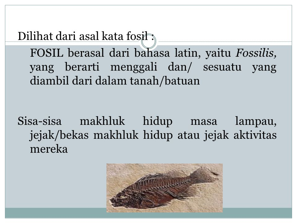 FOSIL Dilihat dari asal kata fosil :