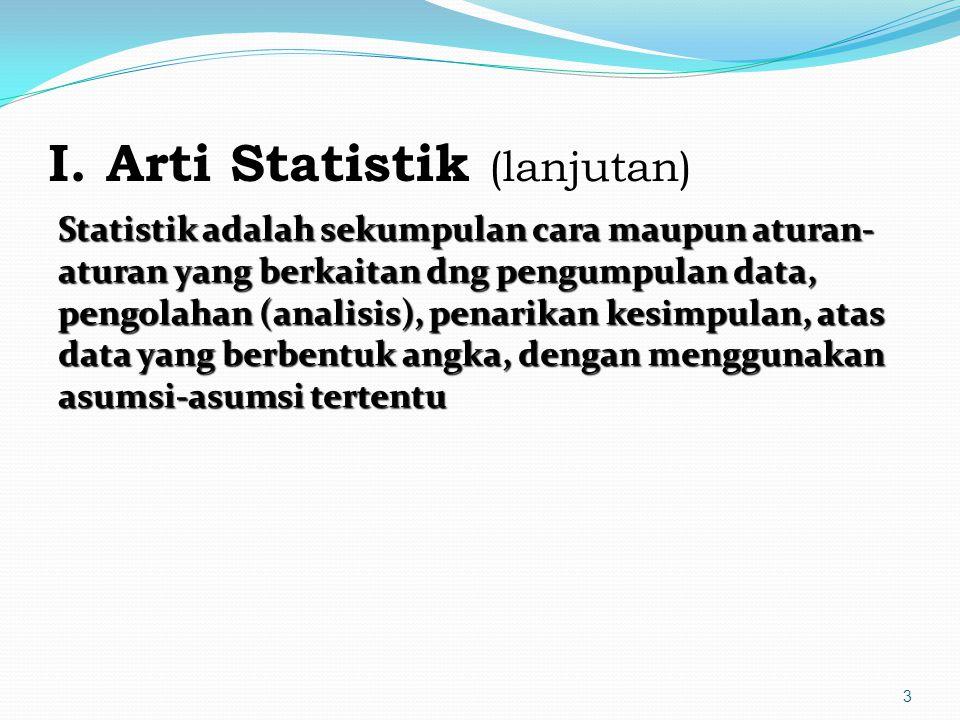 I. Arti Statistik (lanjutan)