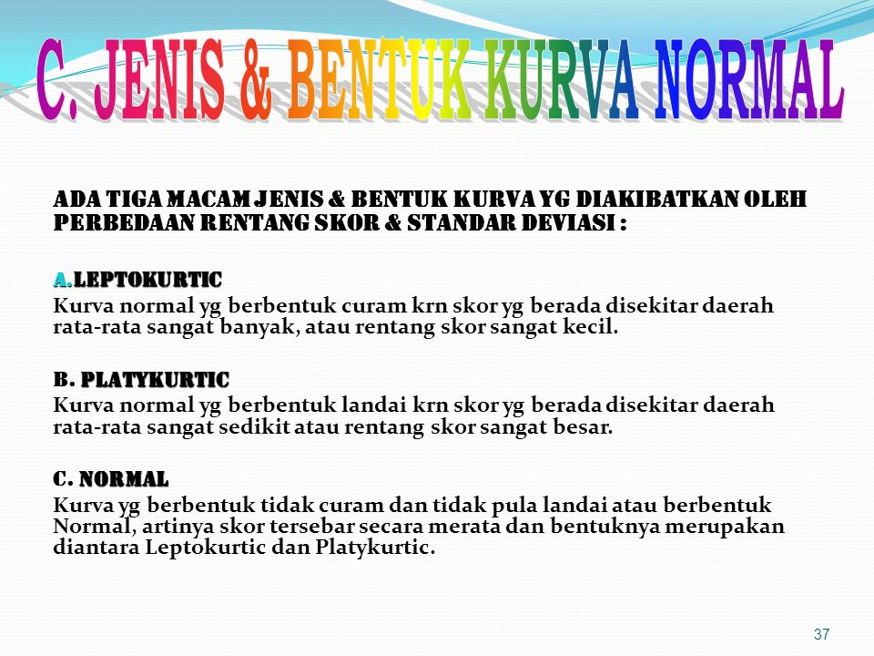 C. JENIS & BENTUK KURVA NORMAL