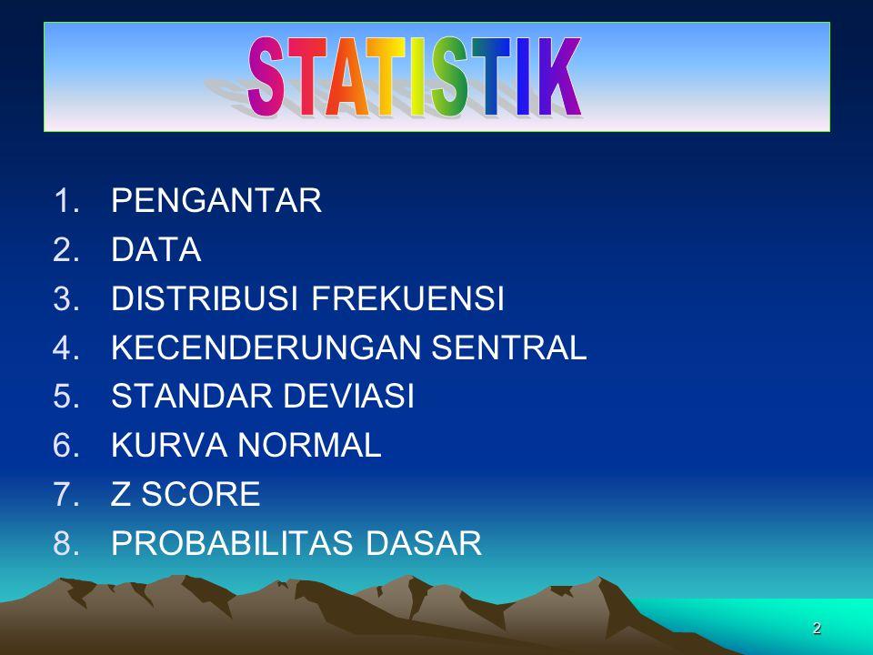 STATISTIK PENGANTAR DATA DISTRIBUSI FREKUENSI KECENDERUNGAN SENTRAL