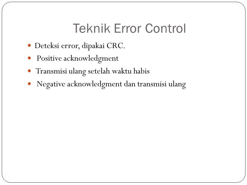 Teknik Error Control Deteksi error, dipakai CRC.