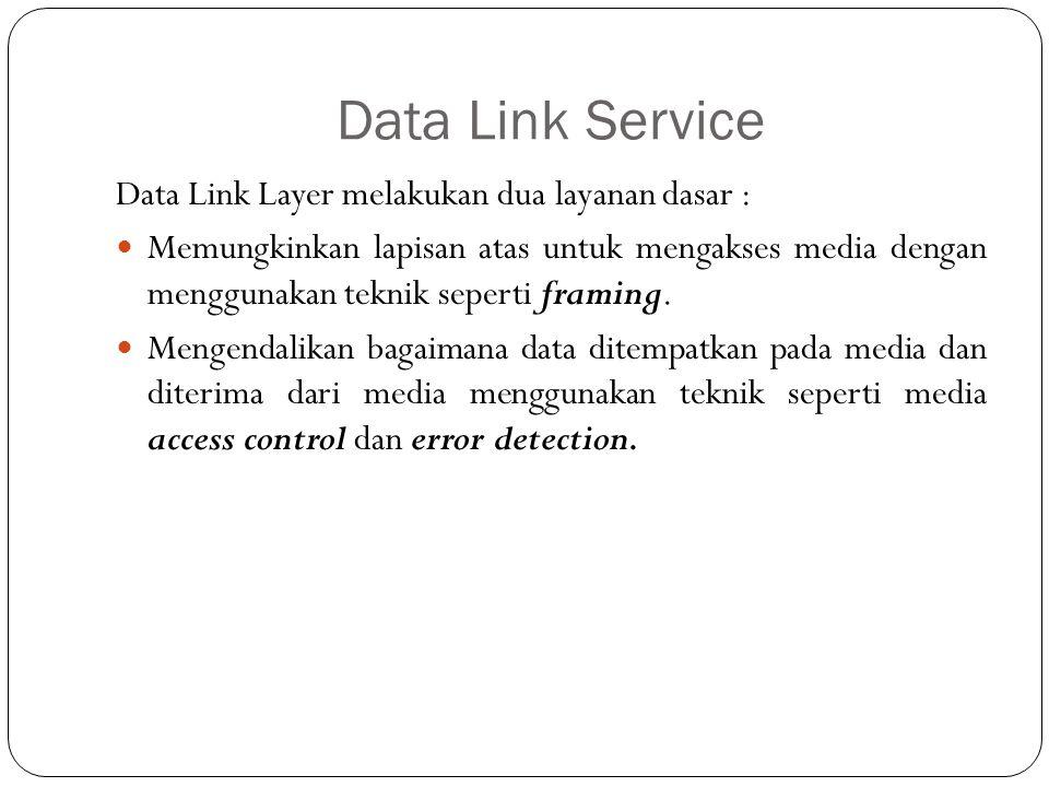 Data Link Service Data Link Layer melakukan dua layanan dasar :