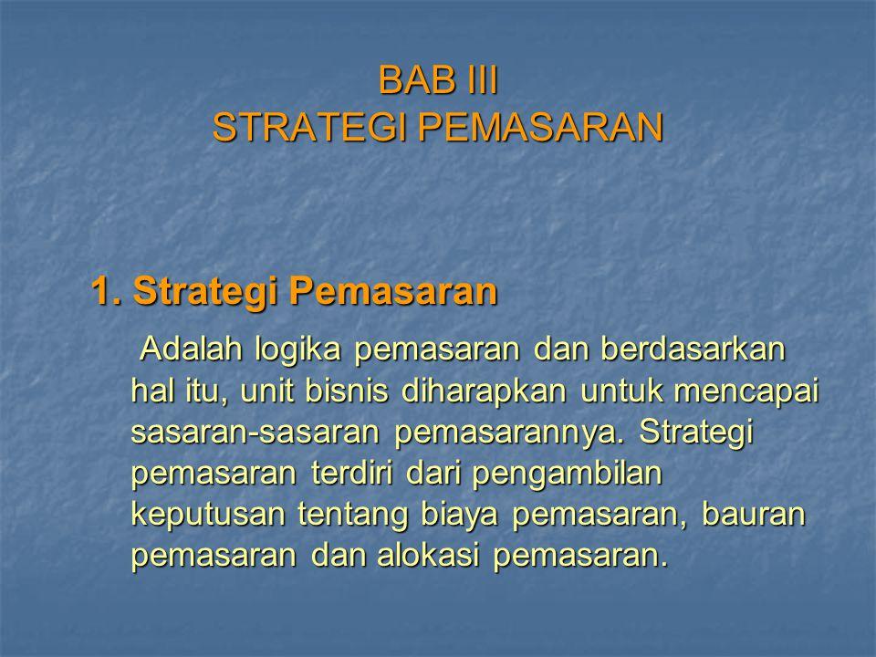BAB III STRATEGI PEMASARAN